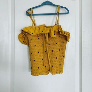 Yellow polka dot crop top